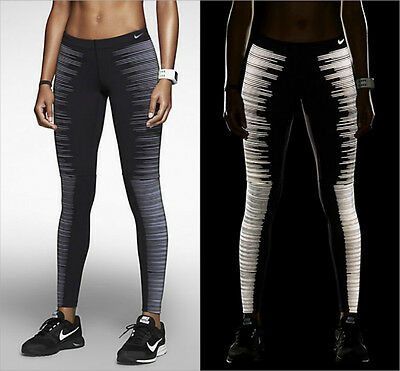 Nike Womens Flash Running Tights Black/Reflective Silver Sports Gym Fitness Yoga