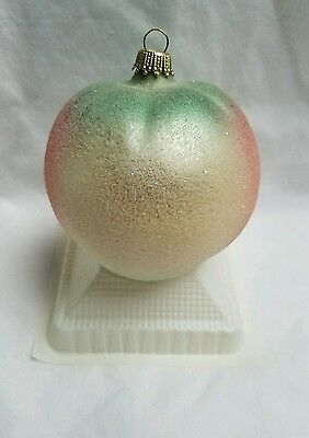 Krebs Glas Lauscha Apple with Glitter Glass Ornament Original Box