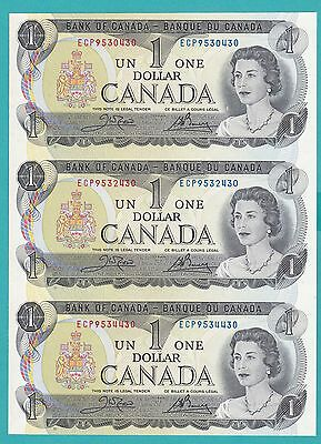 The Canada Three Noncutting  One Dollar Banknotes 1973 .