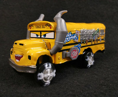 Disney Pixar Cars Miss Fritter Yellow School Bus Monster Truck Deluxe Diecast