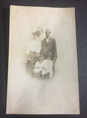 Vintage African American Real Postcard 1905 -1908 Family Pic