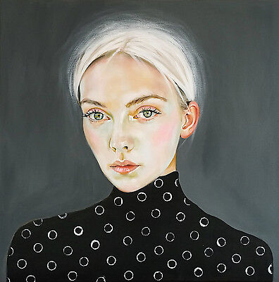 """Large Original Oil painting on canvas. Beautiful portrait of a woman 24x24"""""""