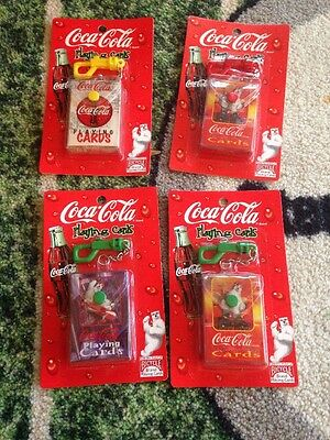 Bicycle Coca Cola Playing Cards Keychain Size New Sealed 4 Sets!
