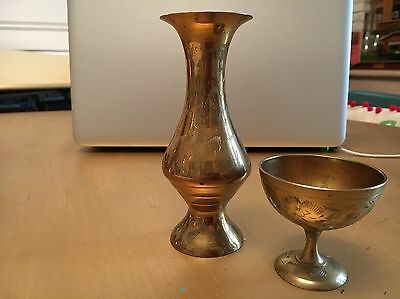 Indian Brass Chalice & Vase - Lovely Condition