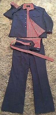 Vintage Men's Leisure Suit Blue Cotton Silk Denim with Red and White Gingham