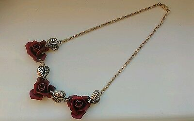 Vintage Red Rose Costume Jewellery Necklace