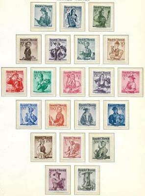 AUSTRIA Sc 521a - 555a  MNH VF COMPLETE COSTUMES WHITE PAPER AND GUM 1958-59.