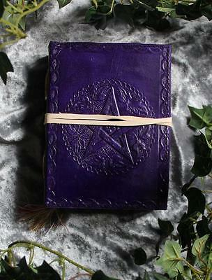 Purple Pentacle Leather Bound Journal/book Of Shadows ~ Hand Made Paper