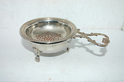 Vintage Silver Plated  Tea Strainer With Stand