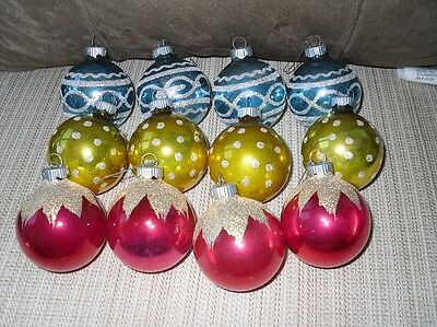 12Vintage Christmas Tree Ornaments Shiny Brite Stenciled Mica Dozen