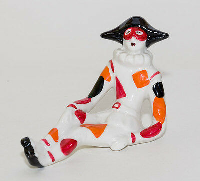 Vintage China Porcelain Or Type Seated Harlequin Figure Ornament Bright Colours