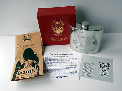 Boxed Grant's Whisky 6oz Pewter Flask