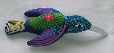 Ceramic Clay Hand-painted Hummingbird Figurine Colorful Mexican Folk Art H4