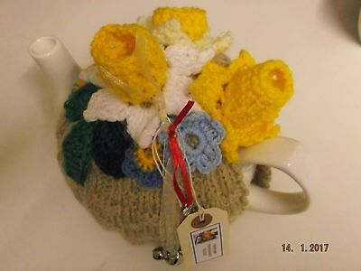 Handmade knitted TEA COSY, crocheted SPRING DAFFODILS, vintage basket pattern