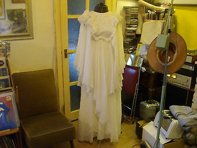 Vintage 1970's Wedding Dress & Veil - Abigail's Party - Groovy Baby W Dated Card