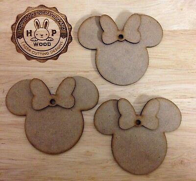 Blank shapes mdf Wooden mickey heads x20 size 35mm x 25mm