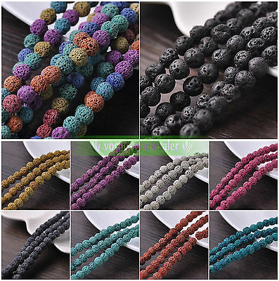 Wholesale 8mm Round Colorful Dyed Natural Lava Stone Loose Craft Beads Lot