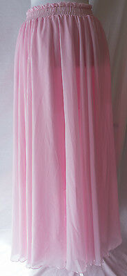 Unbranded Womens S Light Pink Maxi Skirt Chiffon Modesty Double Layer