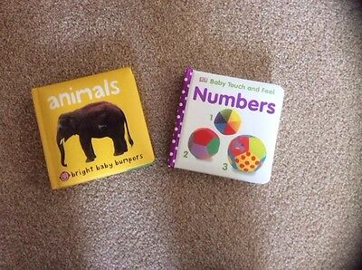 hard back baby books x2 animals, touch and feel numbers