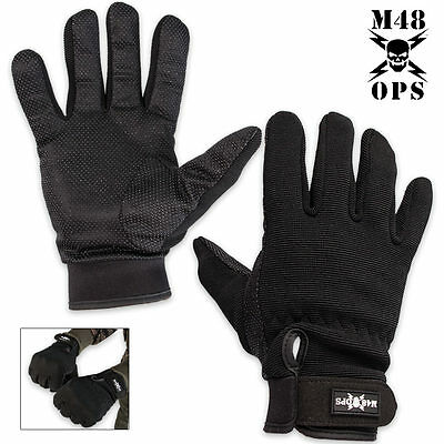 M48 OPS Tactical Military Full Finger Gloves - Black - Size Large