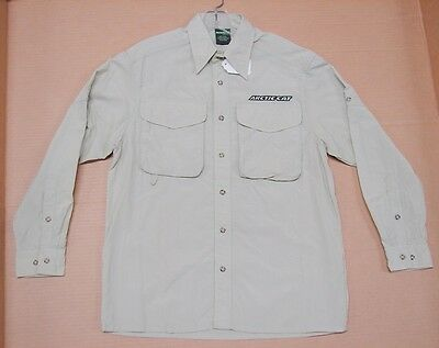 New NWT OEM Arctic Cat Snowmobile Button Up Camp Shirt Small Sand 4233-131