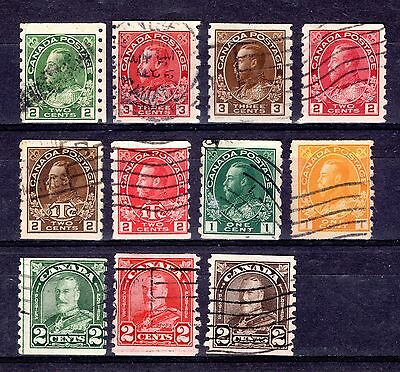 CANADA KGV COIL STAMPS GOOD TO FINE USED x 11 STAMPS NOT CAT OR CHECKED BY ME