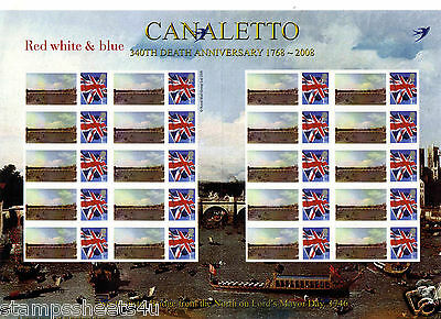 A42 / TS326 340th death CANALETTO Westminster Bridge Smilers Stamp Sheet - Rare