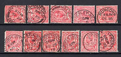 GB KGV DOWNEY HEADS GOOD TO FINE USED x 11 STAMPS WITH GOOD POSTMARK INTEREST