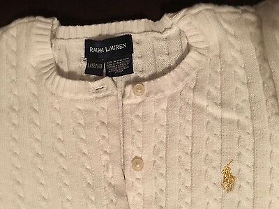 Girls Polo Ralph Lauren Ivory CARDIGAN  SWEATER L(12/14) gold metallic Pony