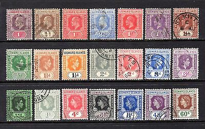 LEEWARD ISLANDS EDV11 TO QE11 GOOD TO FINE USED RANGE x 21 STAMPS CAT £32