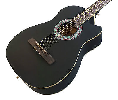 Beginner Acoustic Guitar Pack Matt Black cutaway 38 inch steel strings