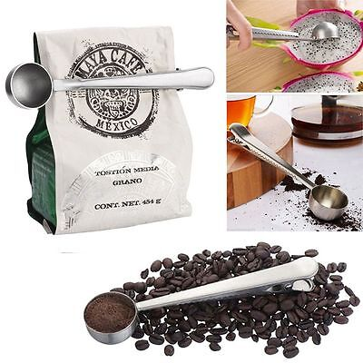 Coffee Measuring Scoop With Bag Sealing Clip Spoon Cooking Tool