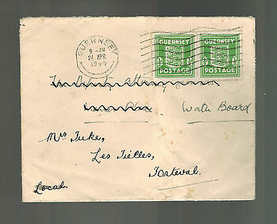 1944 Guernsey Channel Islands Occupation Cover Reused Envelope Forteval