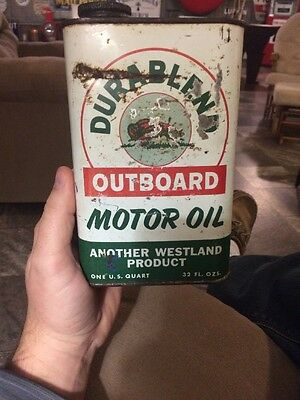 Rare Westland Durablend Outboard Motor Oil Can Buffalo Bison Graphics