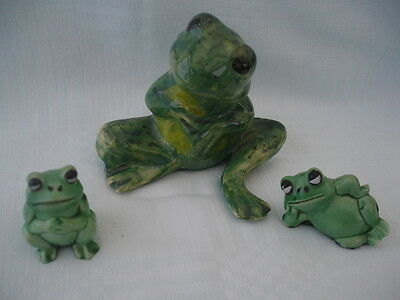 Frog Figure Colour Mottled Green Together With Two Miniature Comic Frogs