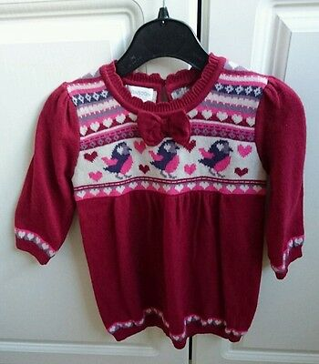 Monsoon Baby Girl'S Knitted Dress Age 6-12 Months - Very Good Condition!