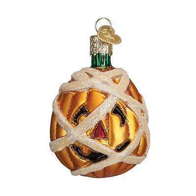 Mummy Pumpkin Old World Halloween Ornament NWT Mouth Blown Glass