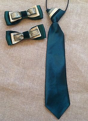 childs equestrian show tie and bows showing set In Green And Gold L@@K