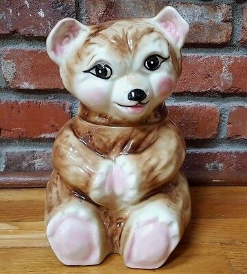 Vintage MC COY TEDDY BEAR COOKIE JAR ~ BABY BEAR WITH PINK PAWS ***MINT***
