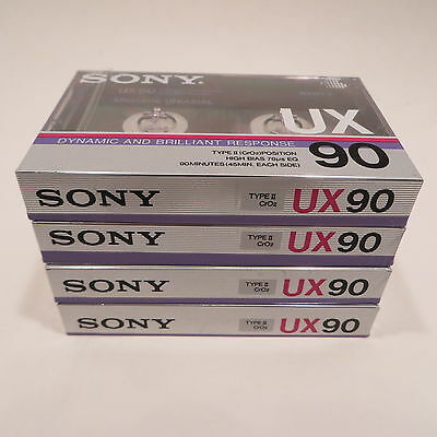 4 NEW Sony UX 90 Minute Blank Audio Cassette Tapes Type II High Bias
