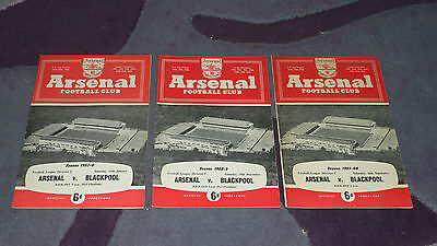 ARSENAL v. BLACKPOOL - 3 programmes from the 1950s