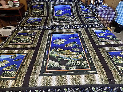 New 73 X 88 Lure Of Bass Fishing Panel Quilt Top Cotton Longarm Hand Made 2073