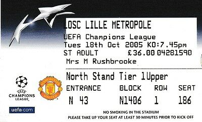 Manchester United V Lille 18 October 2005 Champions League Ticket