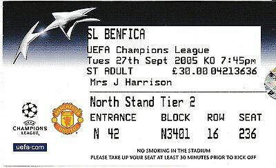 Manchester United V Benfica 27 September 2005 Champions League Ticket