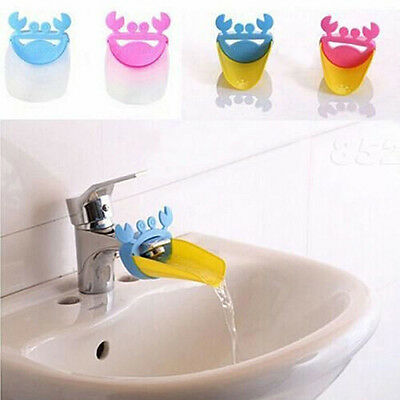 Cute Bathroom Crab Shape Water Faucet Extender Child Tap Gutter Sink Guide