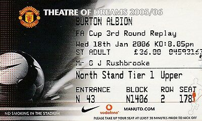 Manchester United V Burton 18 January 2006 Carling Cup Ticket
