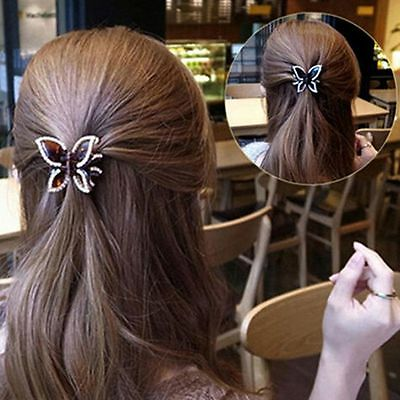 Girl Bling Butterfly Crystal Clamp Accessories Hair Clip Claw Hairpin