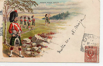 Postcard Litho.     Military  Private Black Watch     Posted 1903 Italy