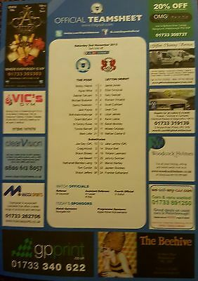 2013-14  PETERBOROUGH UNITED V LEYTON ORIENT - Official Colour Teamsheet