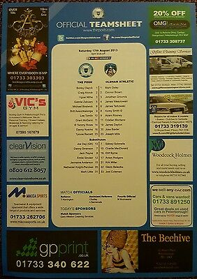 2013-14  PETERBOROUGH UNITED V OLDHAM ATHLETIC - Official Colour Teamsheet